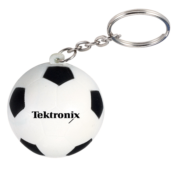 Imprinted Soccer Ball Stress Reliever Key Chain