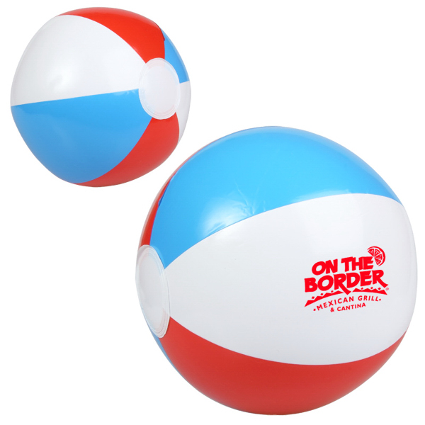 "Custom 10"" Red, White and Blue Beach Ball"