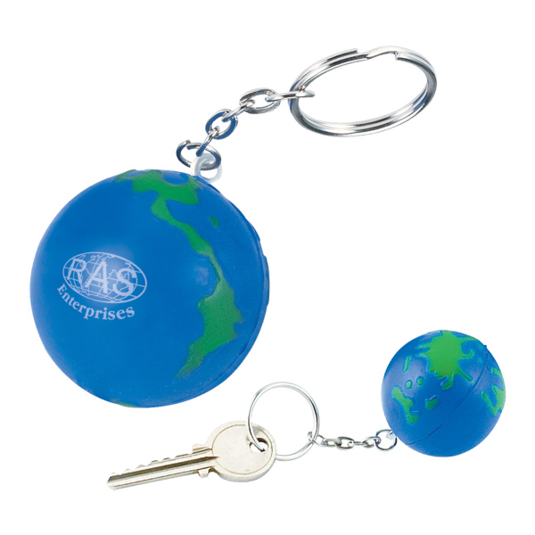 Printed Globe Stress Reliever Key Holder