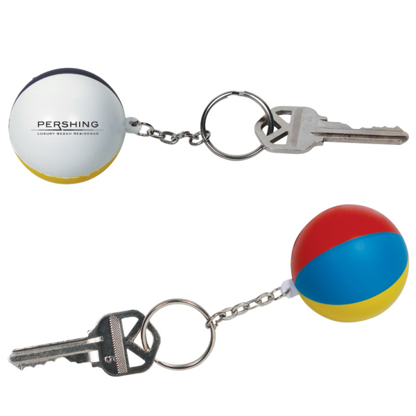 Customized Beach Ball Key Chain Stress Reliever