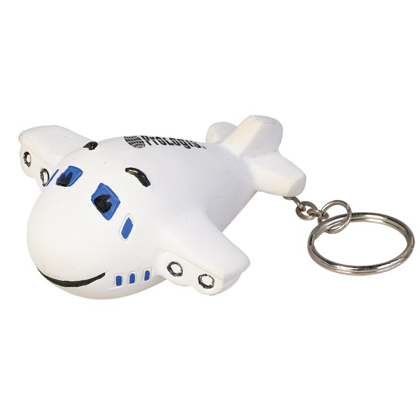 Printed Smiley Airplane Key Chain Stress Reliever