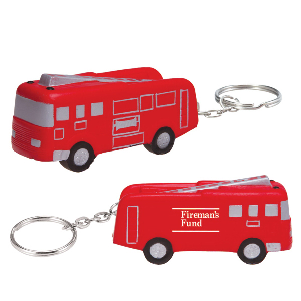 Promotional Fire Truck Keychain stress reliever