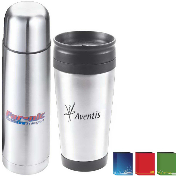 Custom The On The Go Double Walled Flask and Tumbler Gift Set