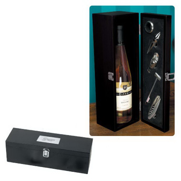 Imprinted The Winery Black Wine Box With Wine Tools