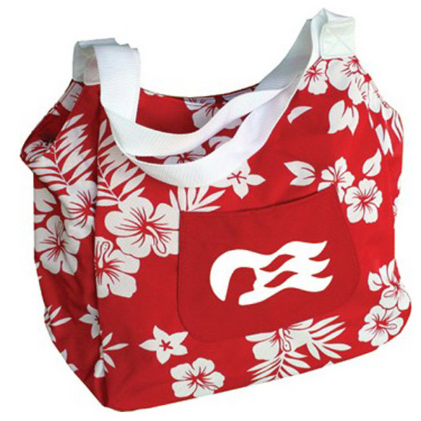 Imprinted Hibiscus print tote bag