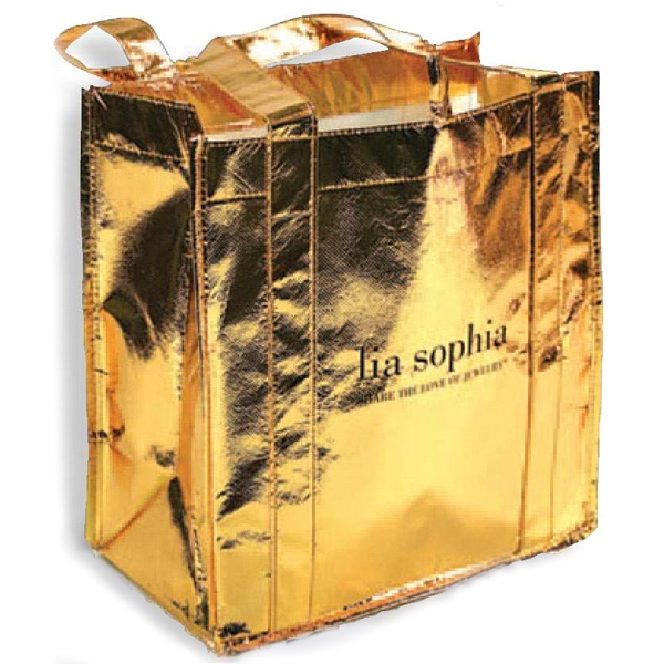 Printed Metallic Shopper Tote