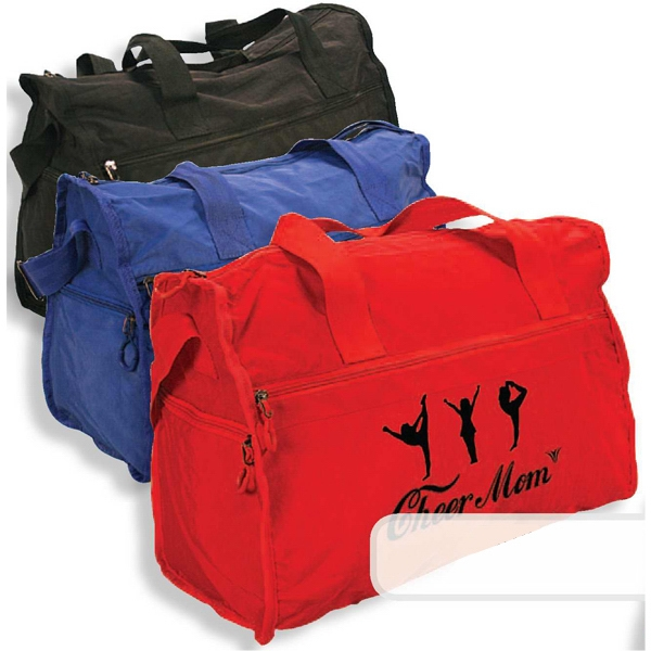 Printed Duffel bag has large front zippered pocket