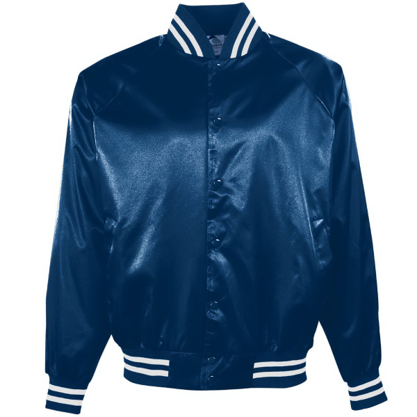 Printed Satin Baseball Jacket/Striped Trim