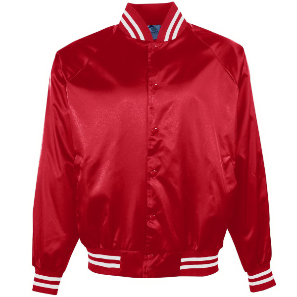 Customized Youth Satin Baseball Jacket/Striped Trim