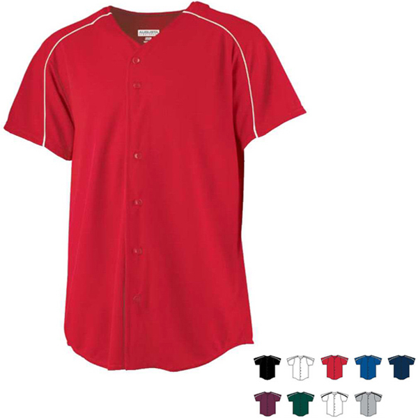 Printed Wicking Button Front Youth Baseball Jersey