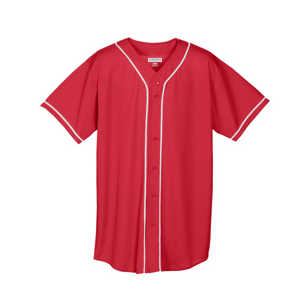 Customized Wicking Mesh Button Front Adult Jersey with Braid Trim