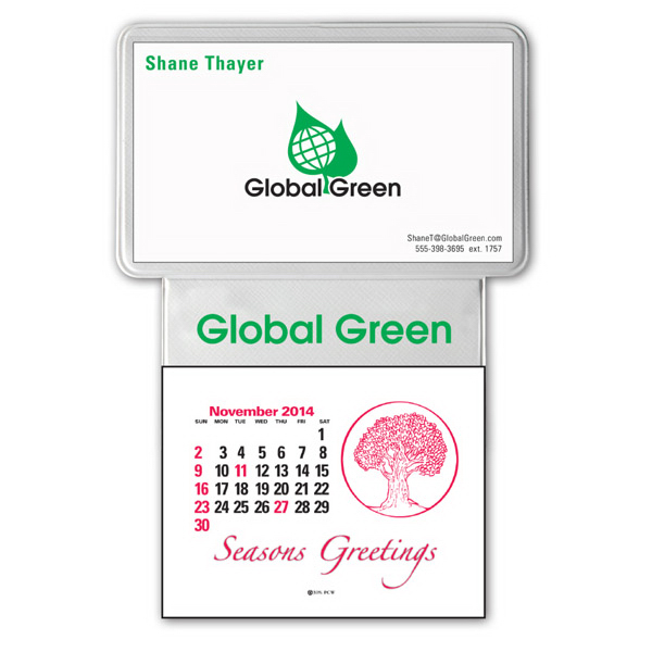 Customized press n stick tm business card calendar for Business card calendar