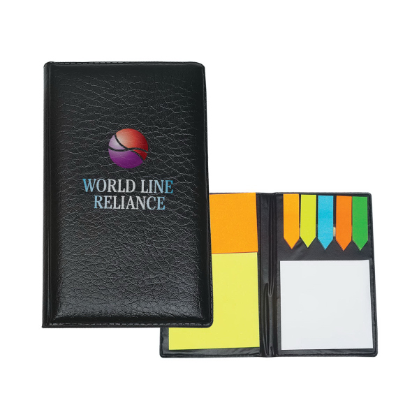Customized Leather Look Padfolio With Sticky Note Pads & Flags