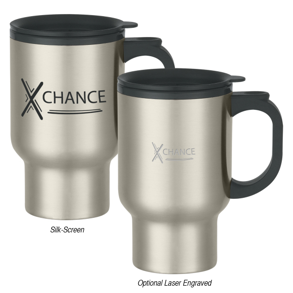 Promotional 16 oz. Stainless Steel Travel Mug With Sip-Thru Lid