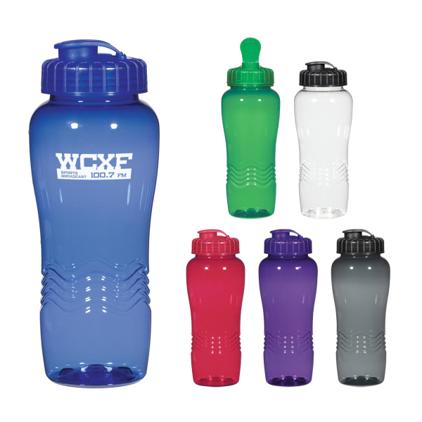 Personalized Poly-Clean 26 Oz. Wave Bottle
