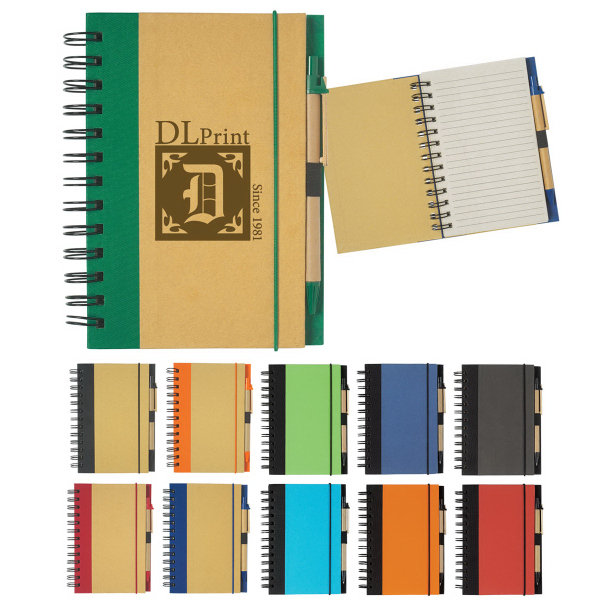 "Customized Eco-Friendly 5"" x 7"" Spiral Notebook & Pen"