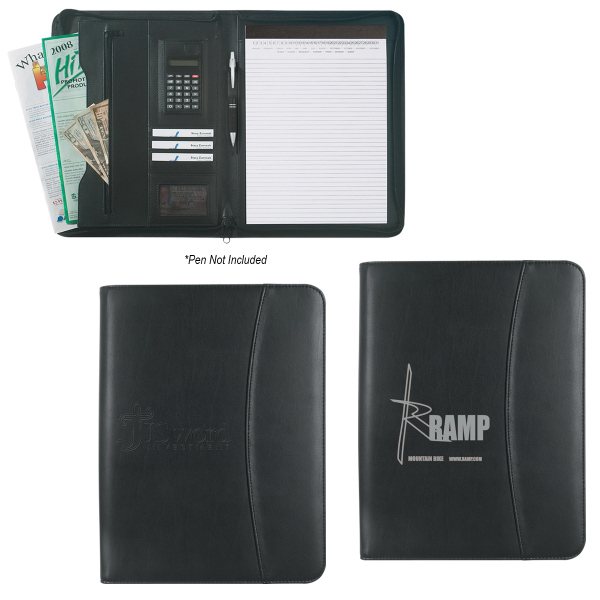 "Promotional Leather Look 8 1/2"" x 11"" Zippered  Portfolio"