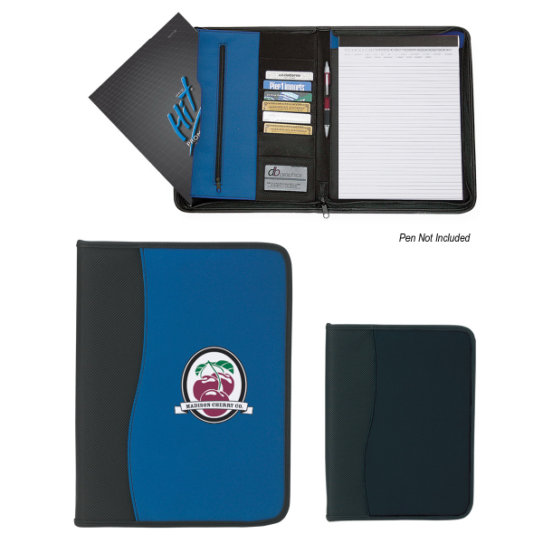 Printed Large Microfiber Portfolio With Embossed PVC Trim