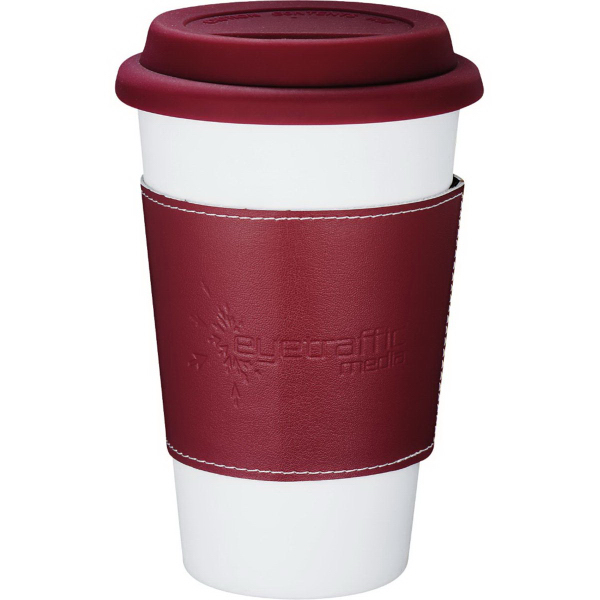 Promotional Double Wall Ceramic Tumbler with Wrap 11 oz
