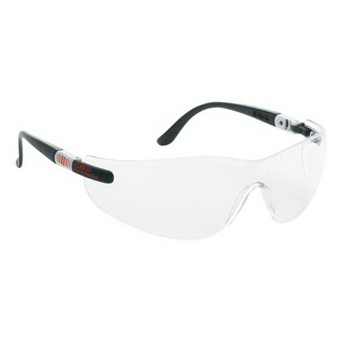 Printed Wrap-Around Safety Glasses with Ratchet Temples
