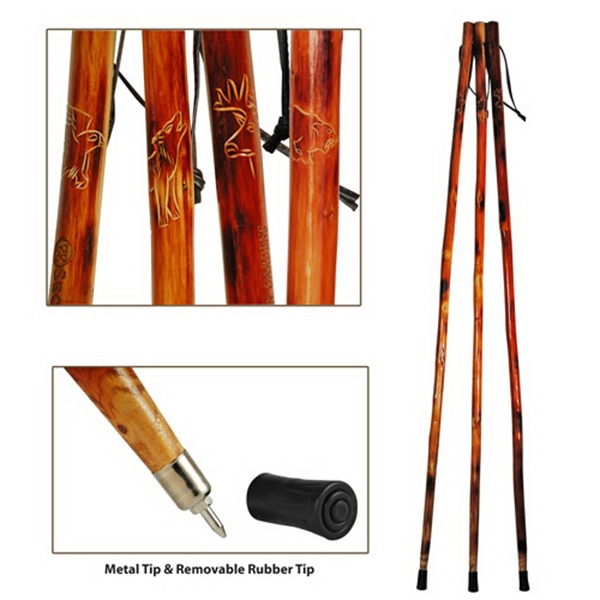 "Imprinted 55"" wooden hiking stick"