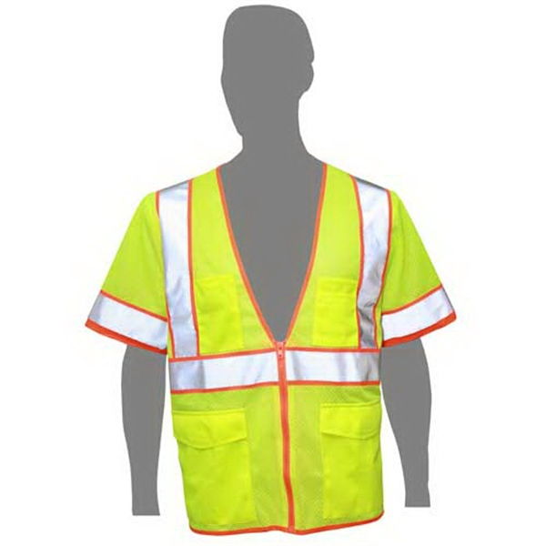 Customized Class 3 compliant highlight mesh safety vest with sleeves
