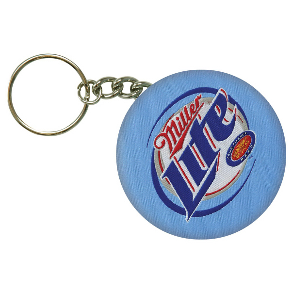 Promotional Fabric covered button keychain bottle opener