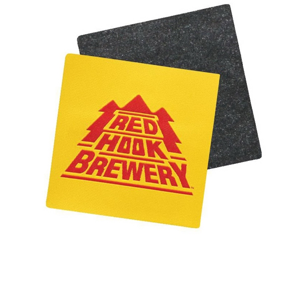 Imprinted Fabric coaster with black non-woven backing