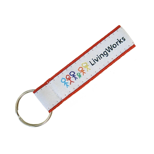 Customized Woven polyester key strap with split ring