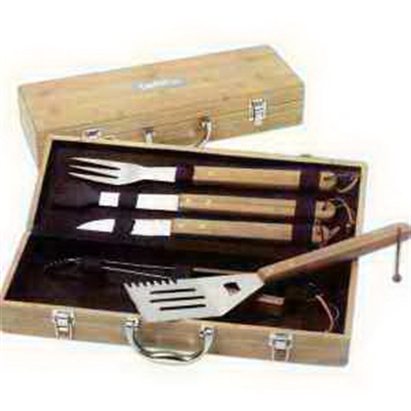 Imprinted 5 Piece Deluxe Bamboo Barbecue Set