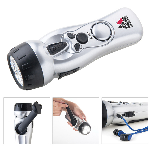 Printed Dynamo Self-Charging Flashlight FM Radio