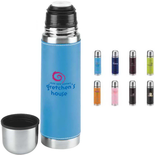 Promotional 16 oz. Leatherette Vacuum Bottle