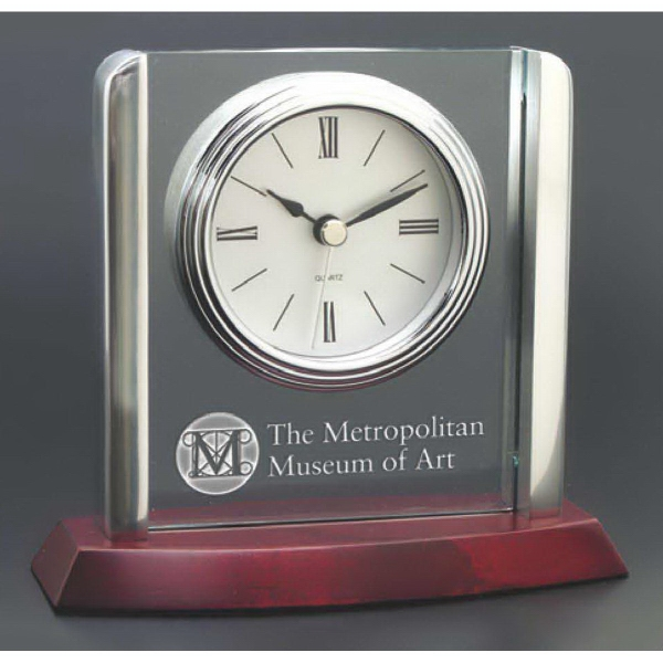 Promotional Clock with matte rosewood base