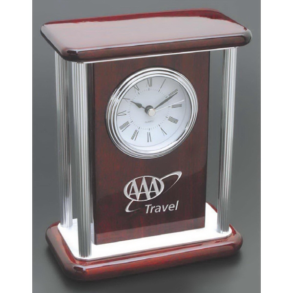 Imprinted Clock in rosewood and glass