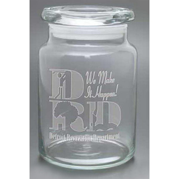 Printed Apothecary jar with flat lid