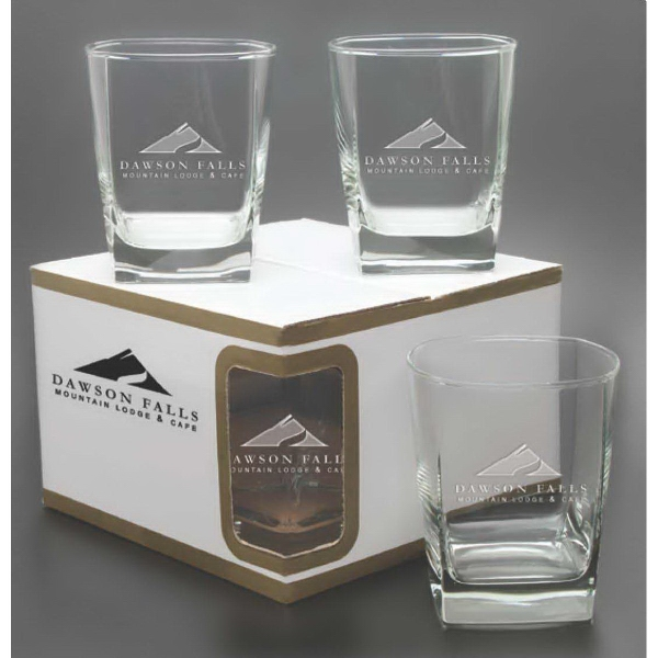Printed 4 pieces double fashioned 14 oz. glass