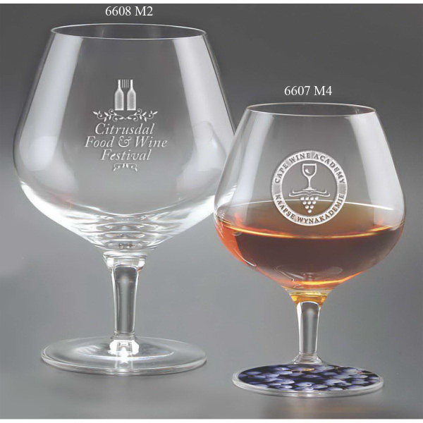 Printed Large Napoleon Brandy Glasses - Set of 2