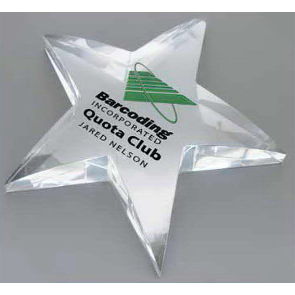 Personalized Radiant star shaped award paperweight