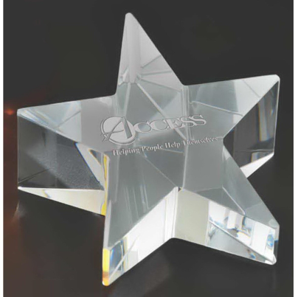 Imprinted Rising star shaped paperweight award