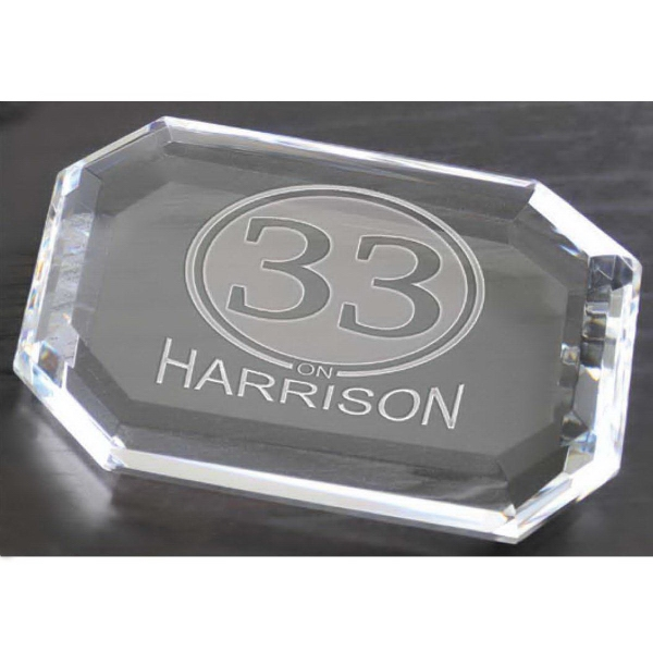 Printed Faceted Rectangle Paperweight