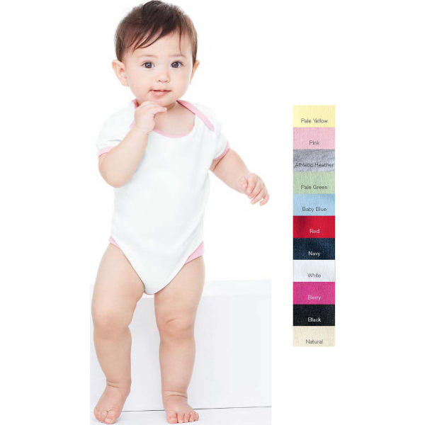 Promotional Bella Baby Infant 1x1 Rib Creeper with Contrast-color