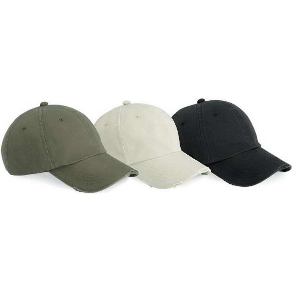 Printed Outdoor Cap Solid Color Low Profile Torn Visor Cap
