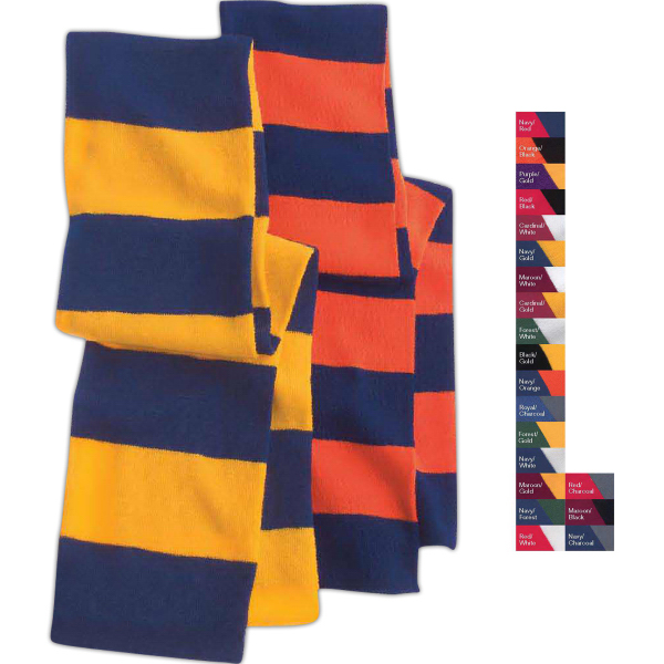 Imprinted Sportsman Rugby Striped Knit Scarf