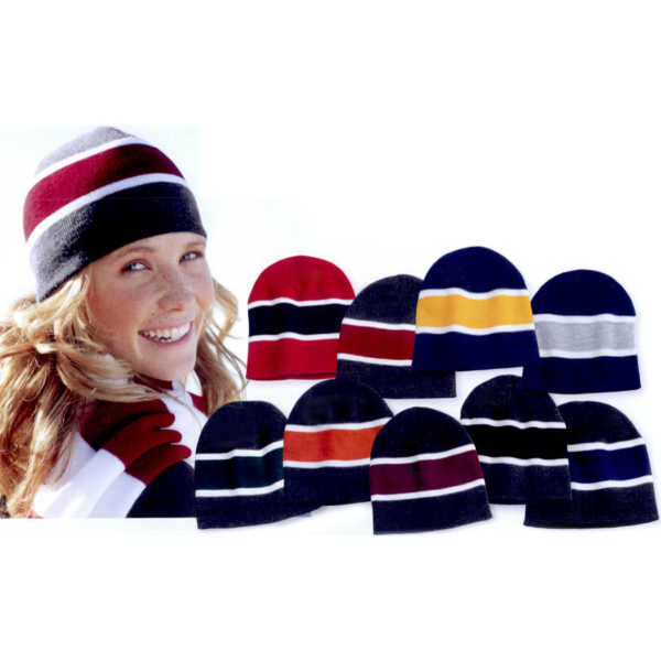 Personalized Sportsman Striped Knit Beanie