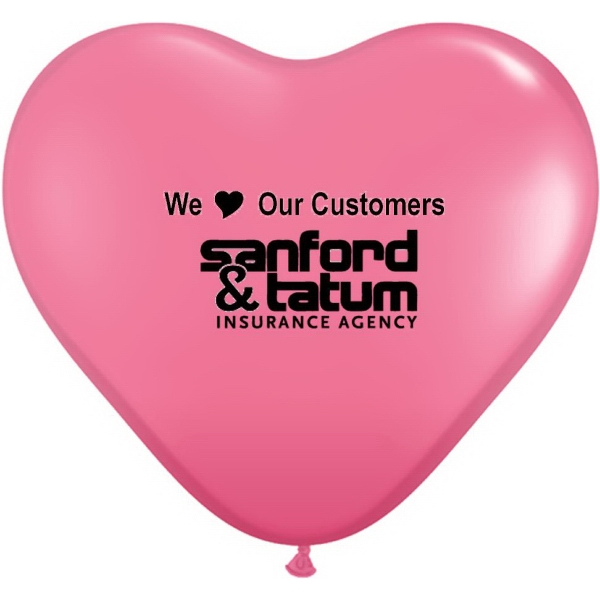 "Custom 36"" Giant Heart Qualatex Latex Balloon - Jewel/Fashion Color"