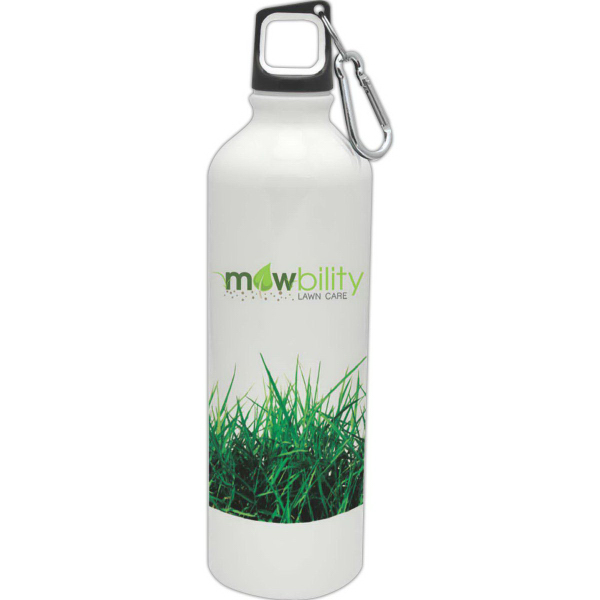 Promotional White 25 oz Aluminum Scuba Water Bottle
