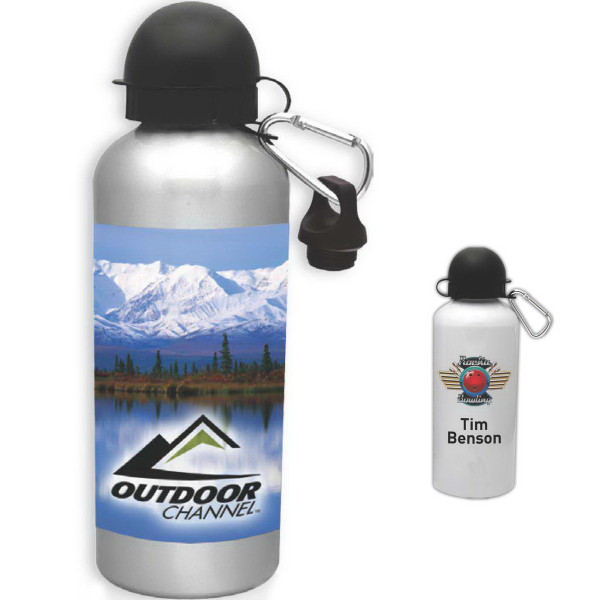 Imprinted 20 oz Silver Cyclist Water Bottle
