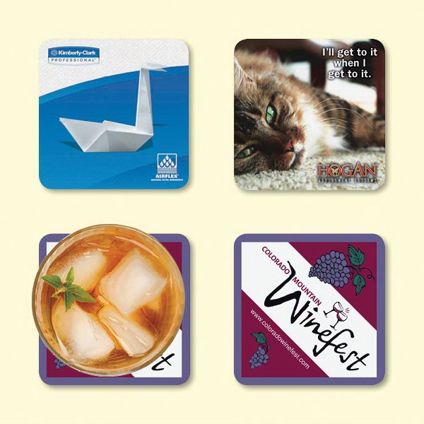 "Customized Vynex® Heavy Duty 3.6""x3.6""x1/16"" Hard Surface Coaster"
