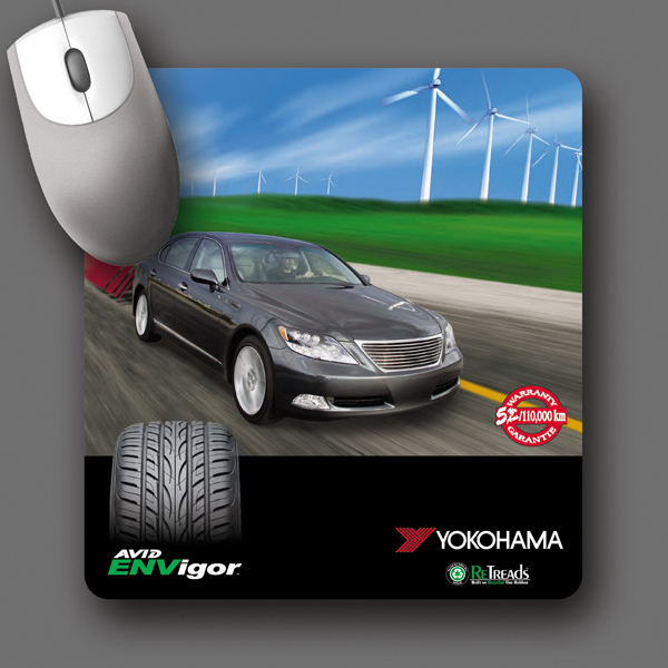 "Customized ReTreads (R) 7.5""x8""x3/32"" Recycled Tire Mouse Pad"