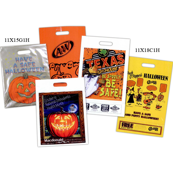 Promotional Custom Printed Grab Style Metallic Halloween Bag